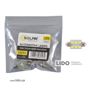 LED автолампа Solar 12V SV8.5 T11x39 6smd 5050 white 10шт