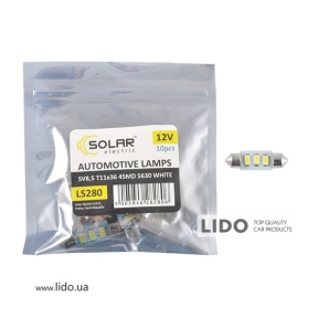 LED автолампа Solar 12V SV8.5 T11x36 3SMD 5630 white 10шт