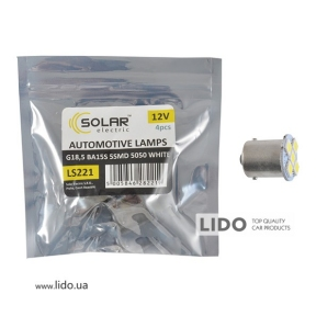 LED автолампа Solar 12V G18.5 BA15s 5smd 5050 white 4шт