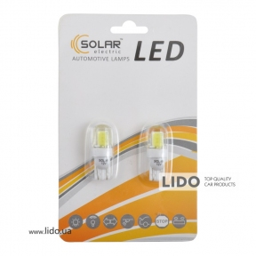 LED автолампа Solar 12V T10 W2.1x9.5d COB 70lm white, 2шт
