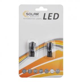 LED автолампа Solar 12V T10 W2.1x9.5d 1SMD 1,5W with lens, 2шт
