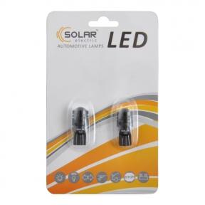 LED автолампа Solar 12V T10 W2.1x9.5d 1SMD 0,5W with lens, 2шт