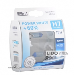 Галогеновая лампа Brevia H7 12V 55W PX26d Power White +60% 4300K S2