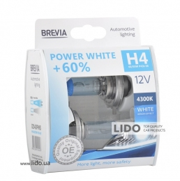 Галогеновая лампа Brevia H4 12V 60/55W P43t Power White +60% 4300K S2