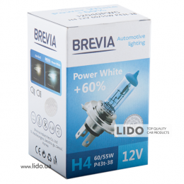 Галогеновая лампа Brevia H4 12V 60/55W P43t Power White +60% 4300K CP