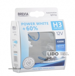 Галогеновая лампа Brevia H3 12V 55W PK22s Power White +60% 4300K S2