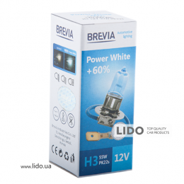 Галогеновая лампа Brevia H3 12V 55W PK22s Power White +60% 4300K CP