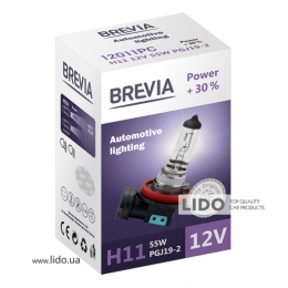 Галогеновая лампа Brevia H11 12V 55W PGJ19-2 Power +30% CP
