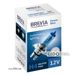 Галогеновая лампа Brevia H4 12V 60/55W P43t Power Blue CP