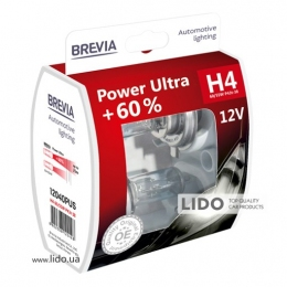 Галогеновая лампа Brevia H4 12V 60/55W P43t Power Ultra +60% S2