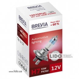 Галогеновая лампа Brevia H7 12V 55W PX26d Power Ultra +60% CP