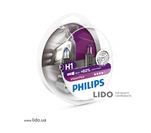 Галогеновая лампа Philips H1 12V 55W P14,5s VisionPlus (+60% more light), Set 2шт