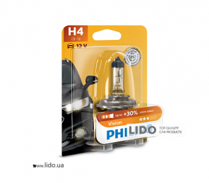 Галогеновая лампа Philips H4 12V 60/55W P43t-38 Vision (+30% more light), Blister 1шт