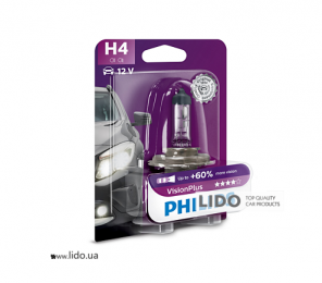 Галогеновая лампа Philips H4 12V 60/55W P43t-38 VisionPlus (+60% more light), Blister 1шт