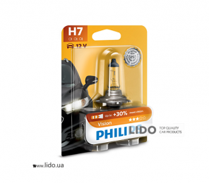 Галогеновая лампа Philips H7 12V 55W PX26d Vision (+30% more light), Blister 1шт