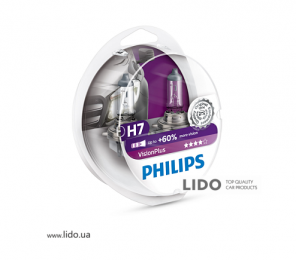 Галогеновая лампа Philips H7 12V 55W PX26d VisionPlus (+60% more light), Set 2шт