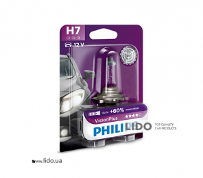 Галогеновая лампа Philips H7 12V 55W PX26d VisionPlus (+60% more light), Blister 1шт