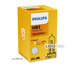 Галогеновая лампа Philips HB3 12V 65W P20d Vision (+30% more light)