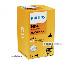Галогеновая лампа Philips HB4 12V 55W P22d Vision (+30% more light)