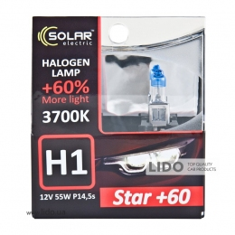 Галогеновая лампа Solar H1 12V 55W P14,5s Starlight +60%, SET