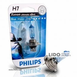 Галогеновая лампа Philips H7 12V 55W PX26d BlueVision Ultra (Xenon Effect), Blister 1шт