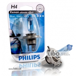 Галогеновая лампа Philips H4 12V 60/55W P43t-38 BlueVision Ultra (Xenon Effect), Blister 1шт