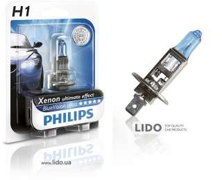 Галогеновая лампа Philips H1 12V 55W P14,5s BlueVision Ultra (Xenon Effect), Blister 1шт